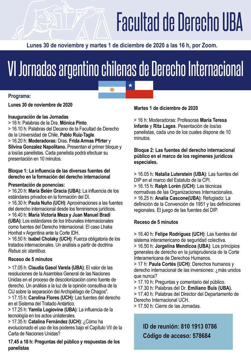 VI Jornadas Argentino Chilenas de Derecho Internacional 30 de nov/ 1 de dic 2020